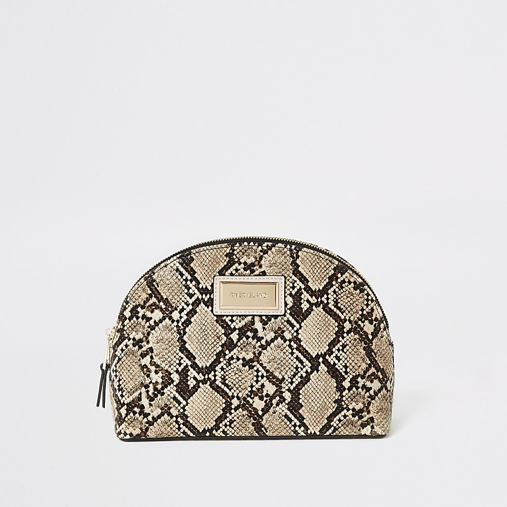 Beige snake printed zip top makeup bag