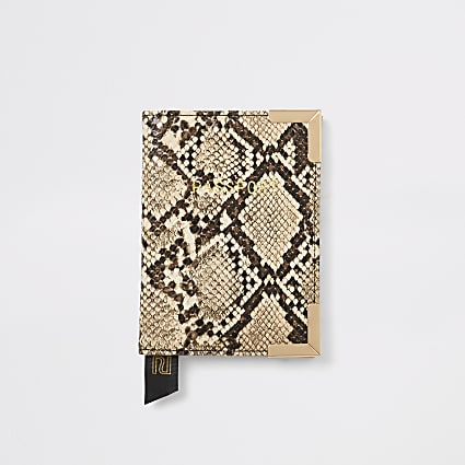 Biege snake print passport holder