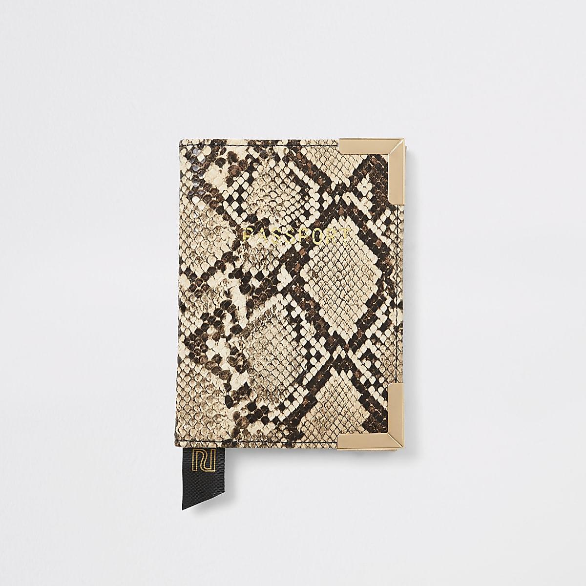 Biege snake print passport holder