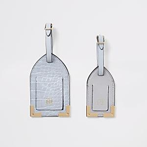 Ensemble d'étiquettes à bagage grain croco lilas