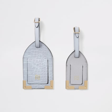 Lilac croc embossed luggage tag set