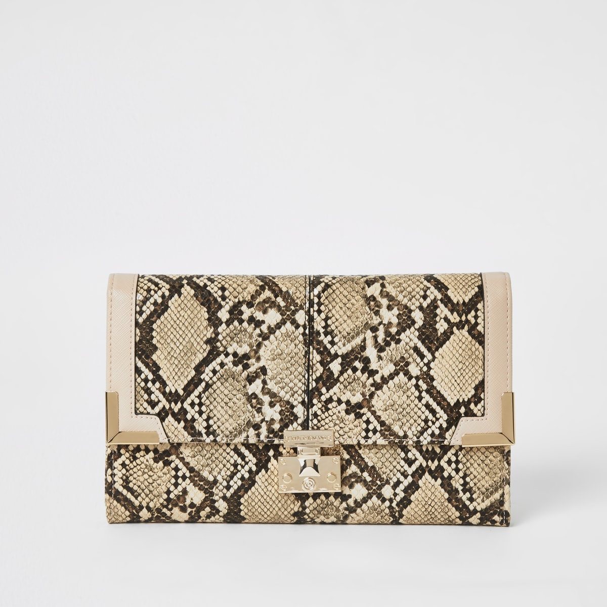 Beige snake print fold over travel wallet