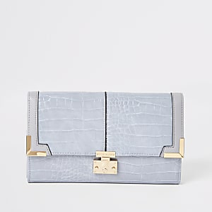 Lilac croc embossed travel wallet