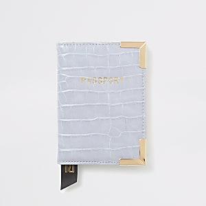 Porte-passeport grain croco lilas