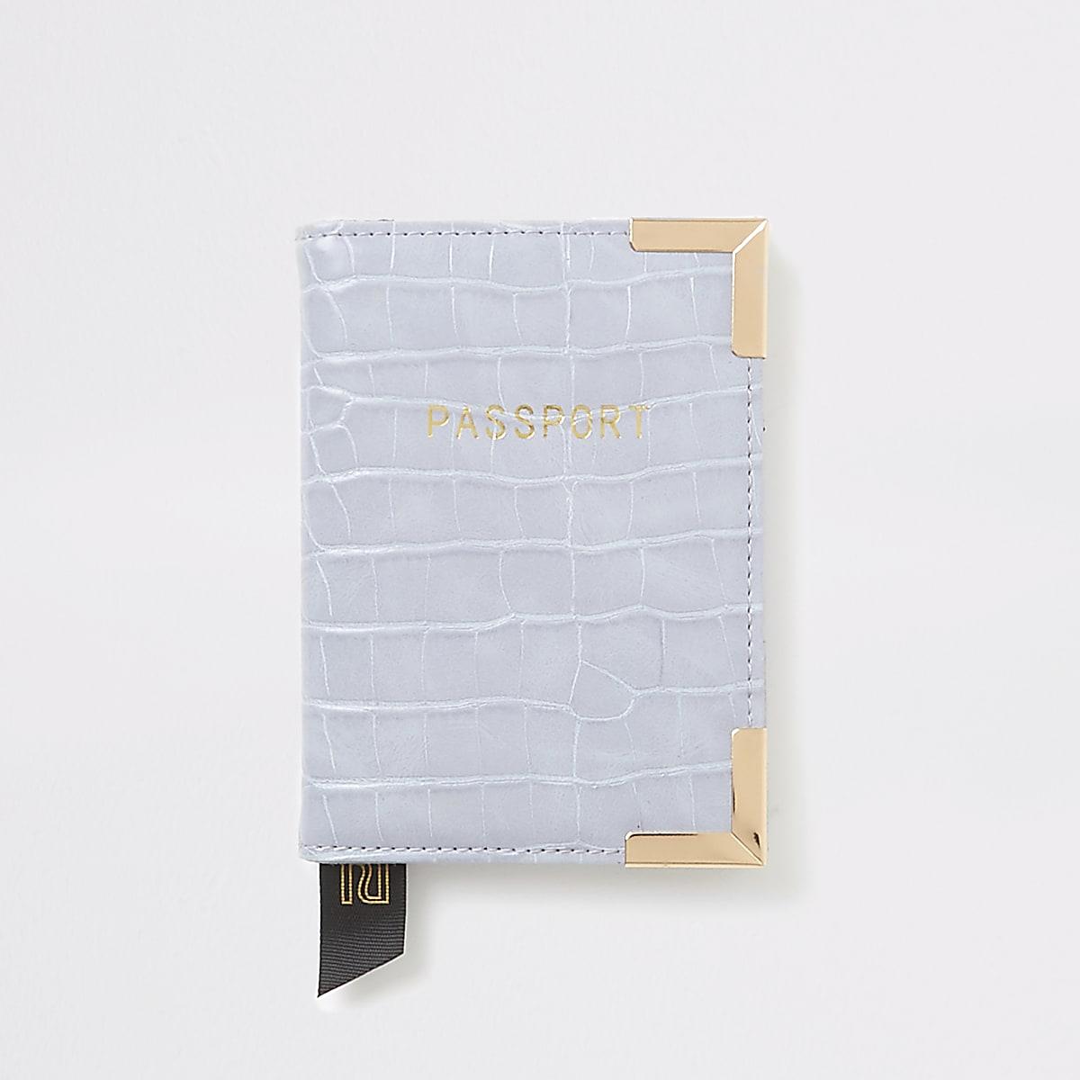 Lilac croc embossed passport holder