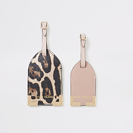 Pink metallic leopard print luggage tag set