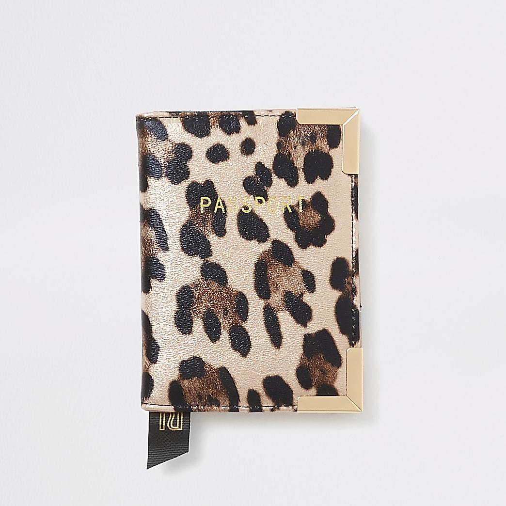 Pink metallic leopard print passport holder