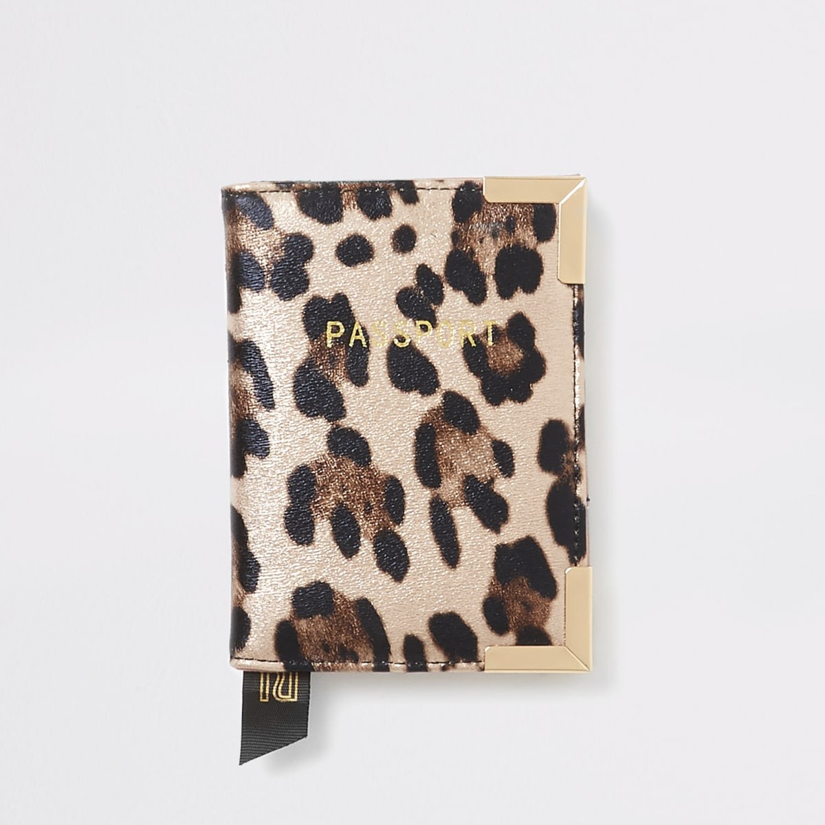 Pink metallic leopard print passport holder