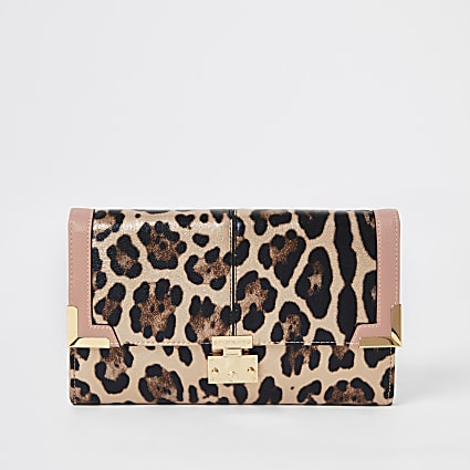 Pink metallic leopard print travel wallet