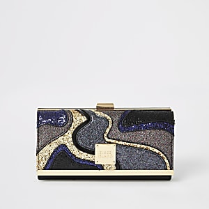 Zwarte disco glitter portemonnee met druksluiting en uitsnede