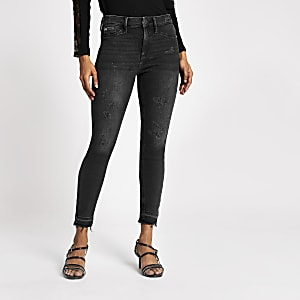 "Petite – Schwarze Skinny Fit Jeggings ""Molly"" im Fade-Look"