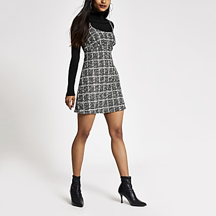 Petite black boucle sleeveless mini dress