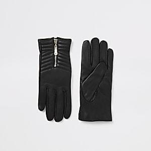 Zwarte leren gestikte rechte handschoenen met rits