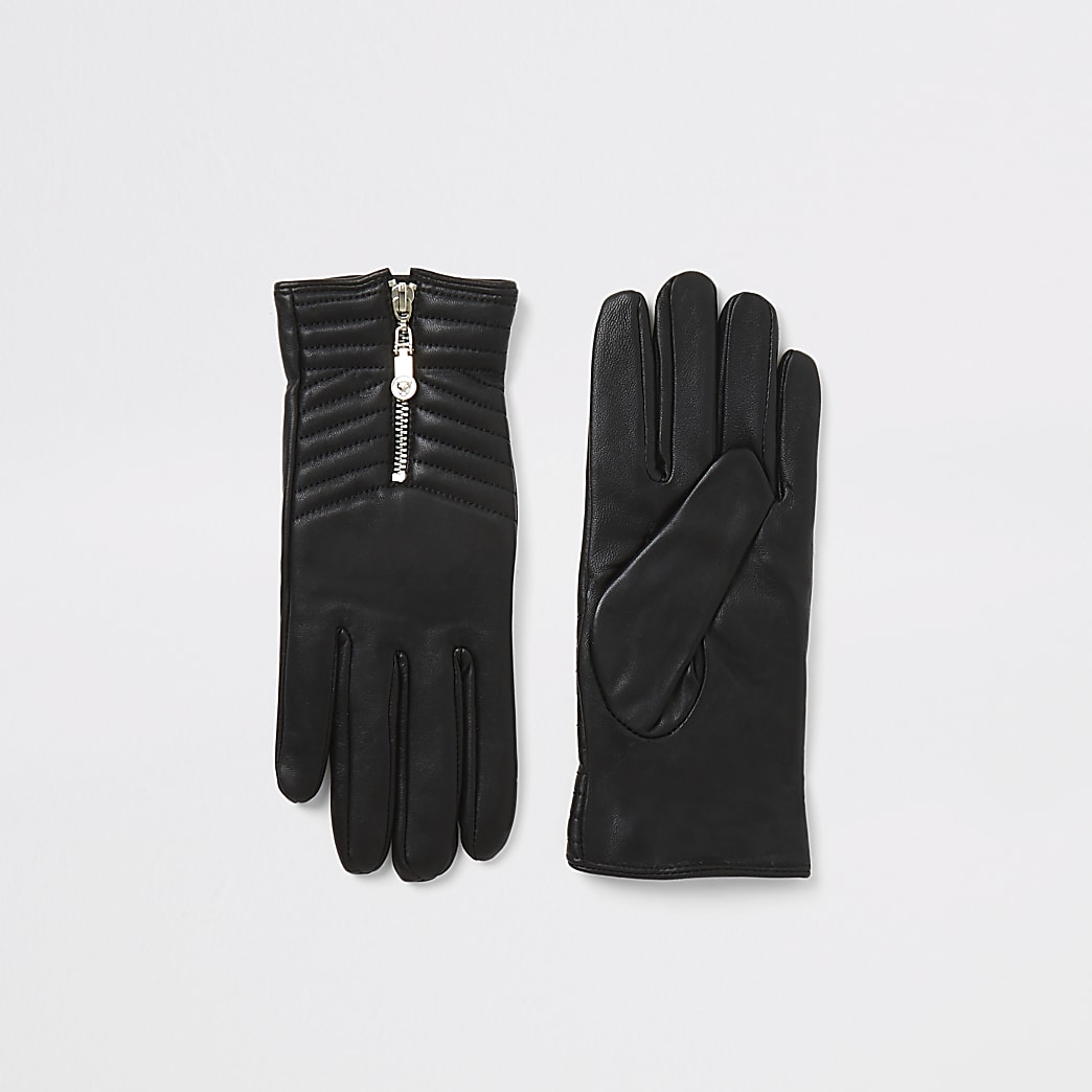 Black leather zip quilted boxed gloves