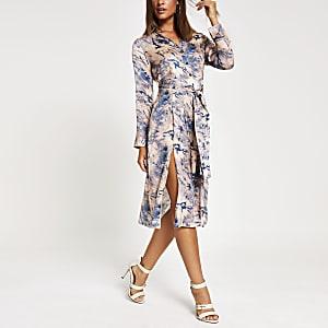 Robe chemise mi-longue bleuetie-dye à manches longues