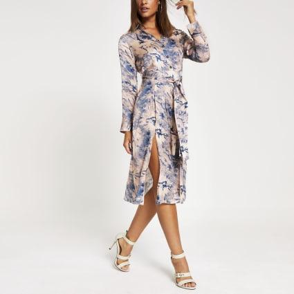 Blue tie dye long sleeve midi shirt dress