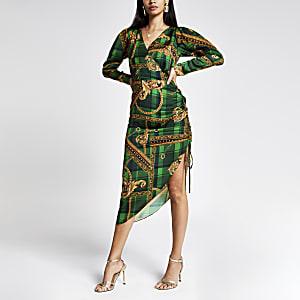 Robe mi-longue verte imprimée à manches longues, style portefeuille