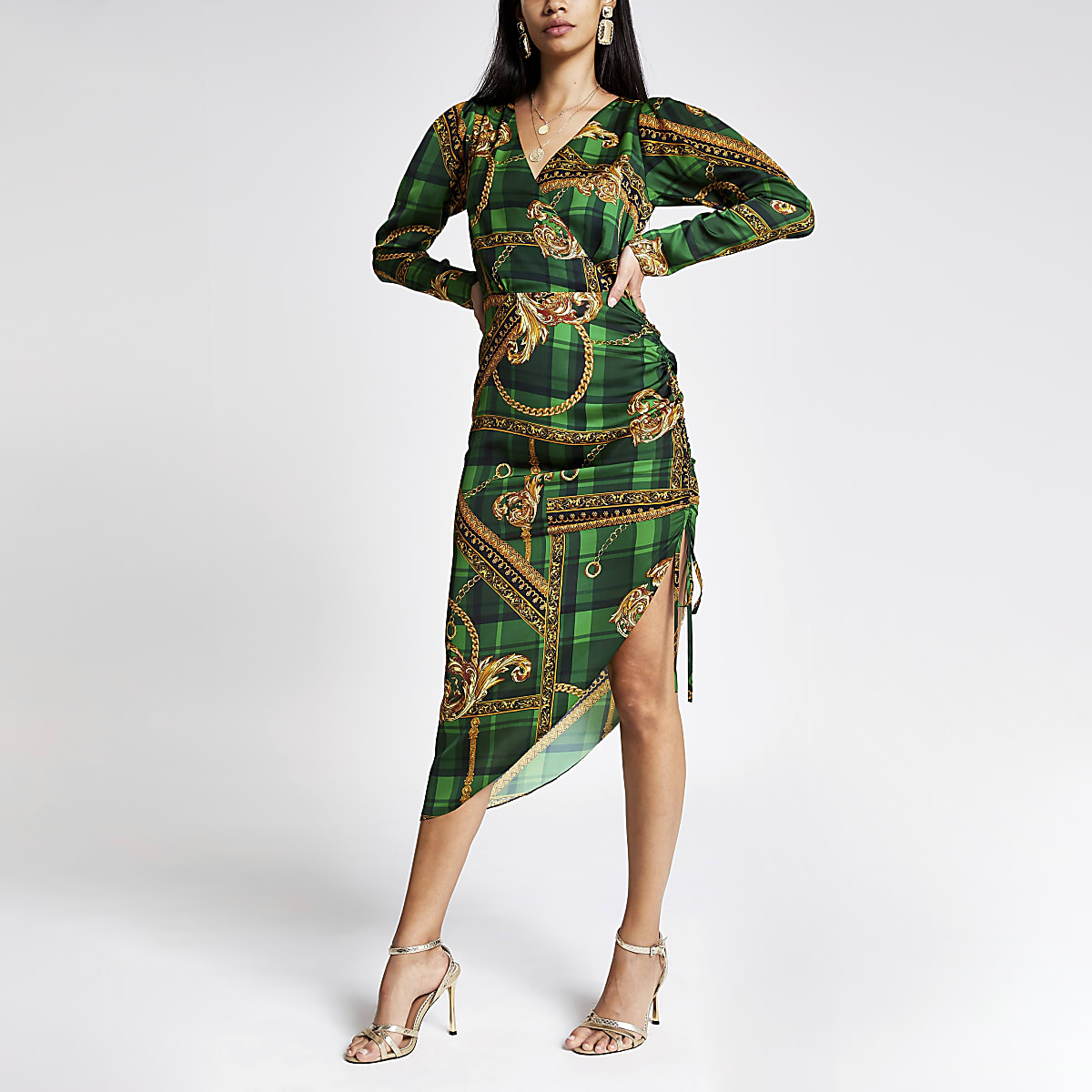 Green print wrap front long sleeve midi dress