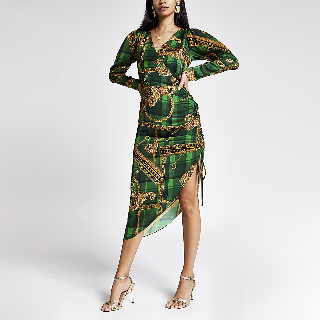 Green print wrap front long sleeve midi dress