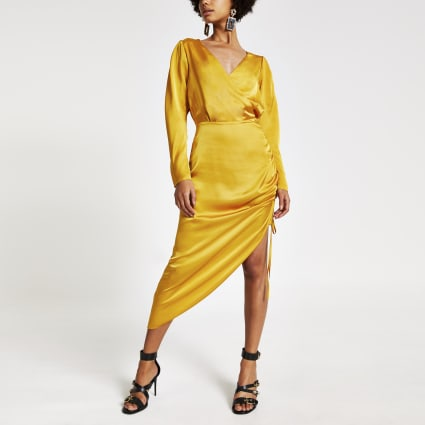 Gold wrap front ruched midi dress