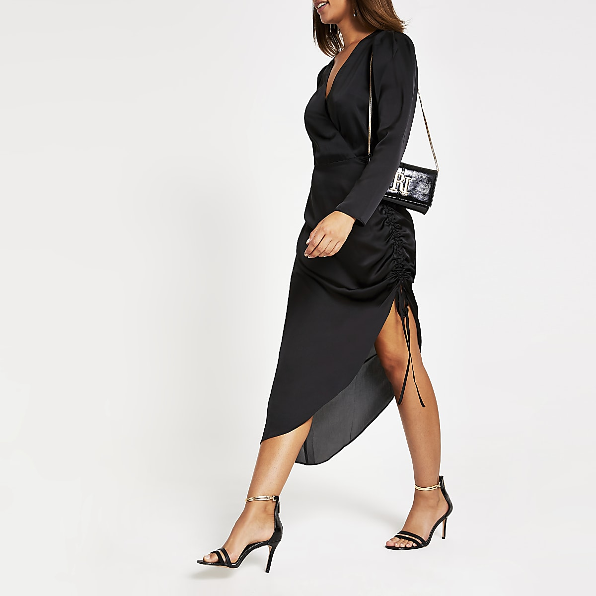 Black wrap front ruched midi dress