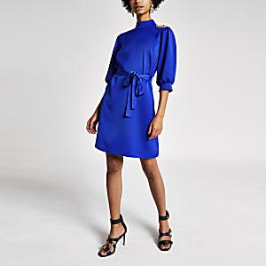Bright blue long sleeve tie belt swing dress