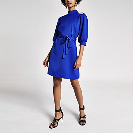 Bright blue long sleeve tie belt swing dress