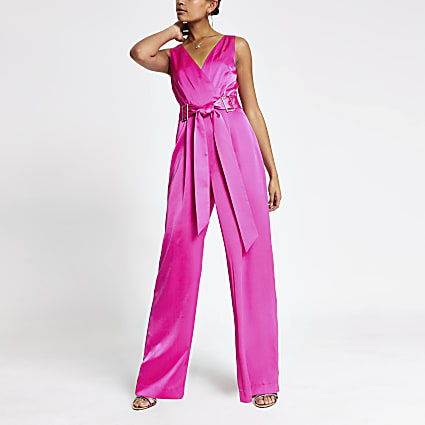 Neon pink buckle waist jumpsuit