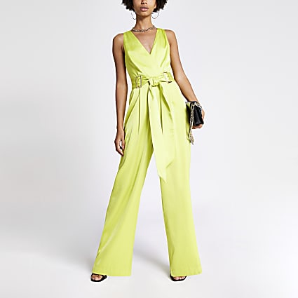 Neon green buckle waist jumpsuit
