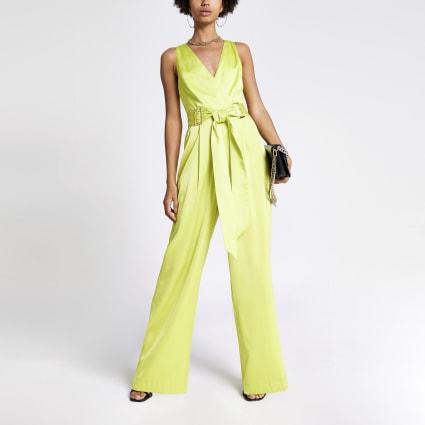 Neon green buckle waist jumpsuit