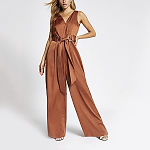 Dark orange belted waist V neck jumpsuit