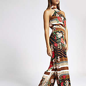 Brown printed cross neck jumpsuit
