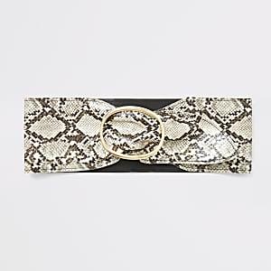 Beige sash met slangenprint en tailleriem