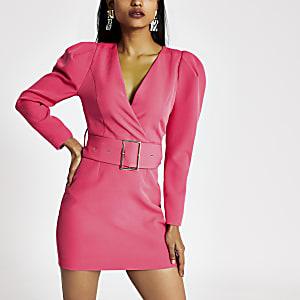 Petite pink long sleeve belted mini dress