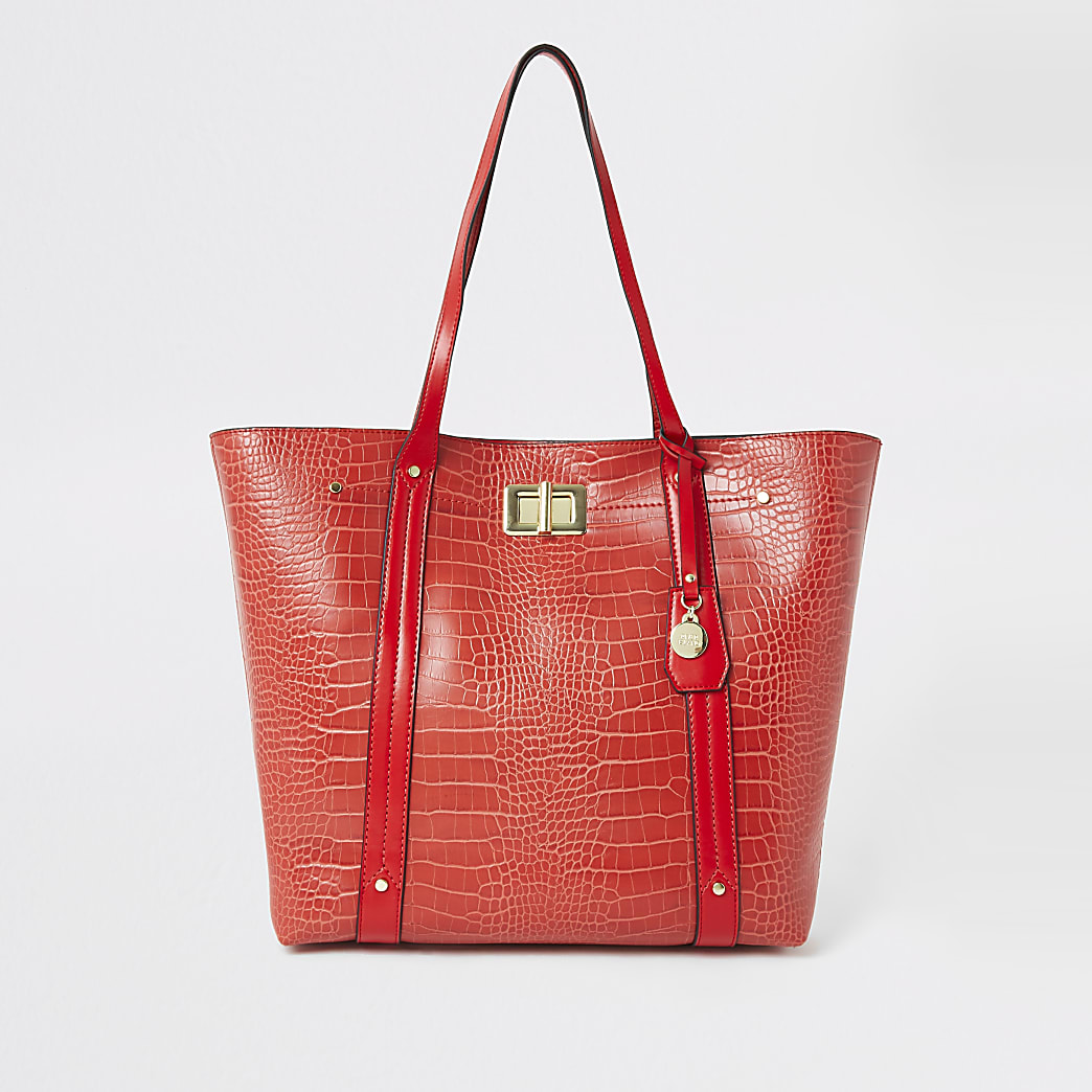 Red croc embossed shopper tote bag