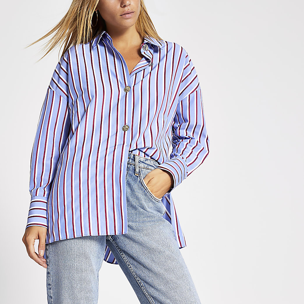 Red stripe button front shirt