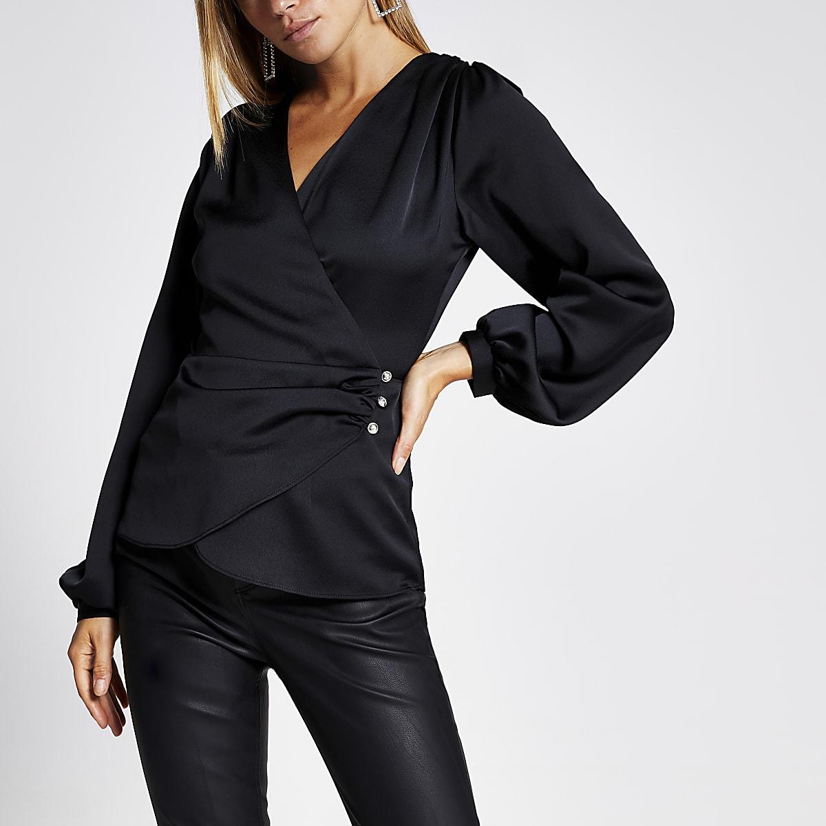 Black button wrap blouse