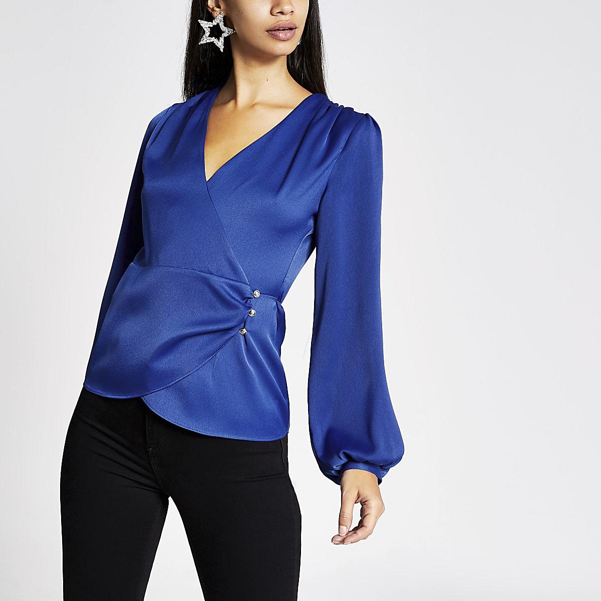 Blue long sleeve wrap blouse