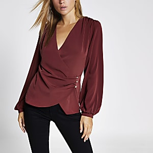 Dark red long sleeve wrap blouse