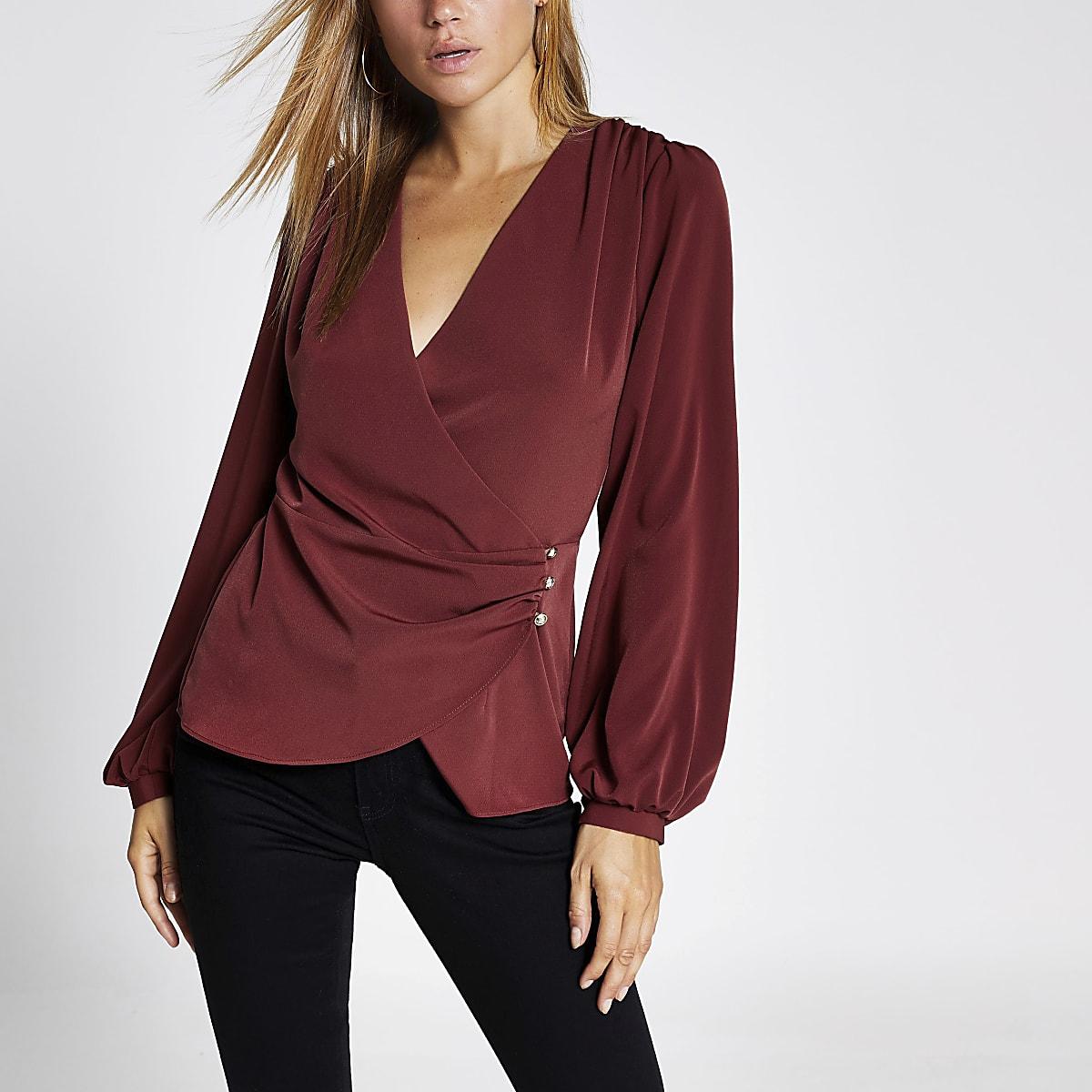 Dark red long sleeve wrap blouse