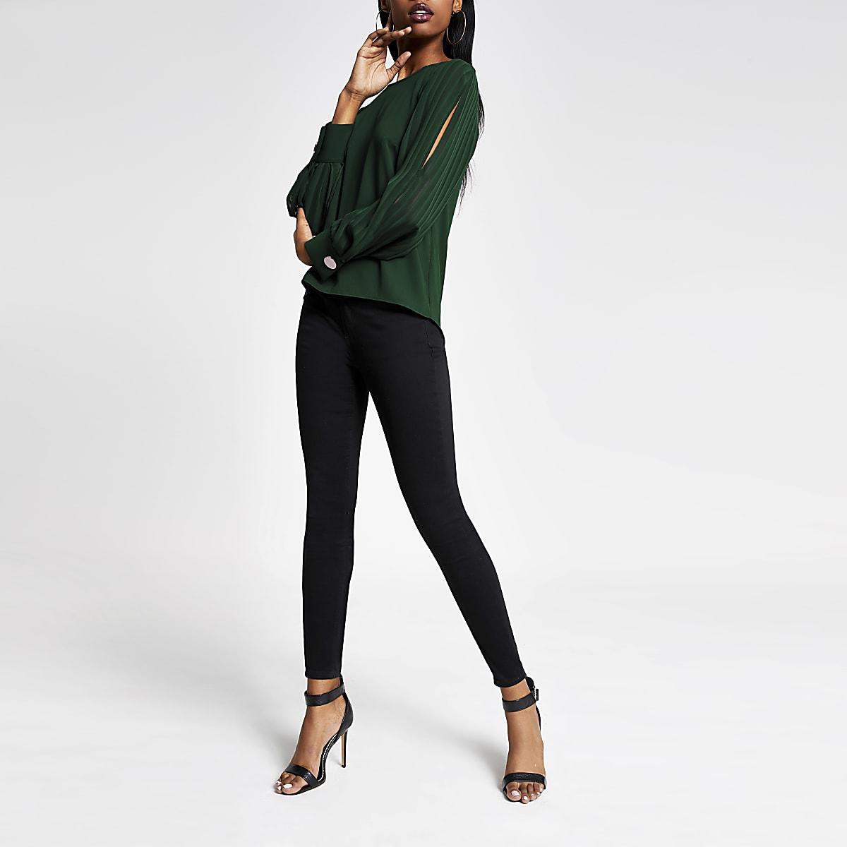 Green long sheer stripe split sleeve top