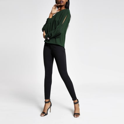 Green long pleated sheer sleeve top