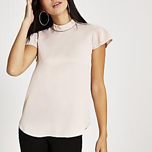 Light pink diamante neck short sleeve top