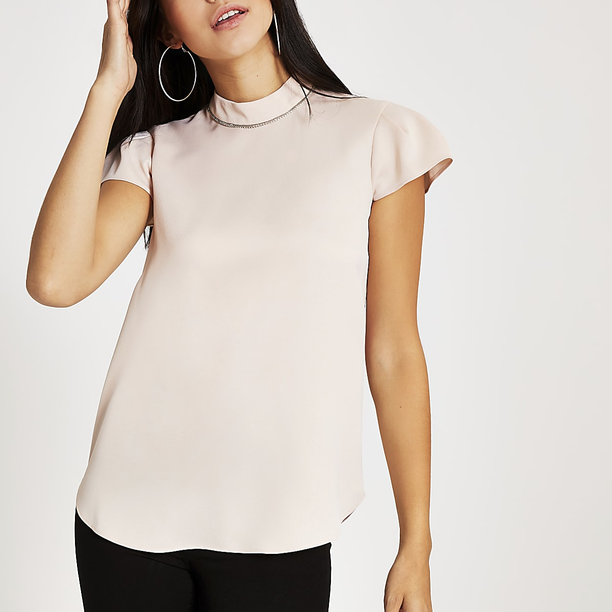 Light pink diamante neck short sleeve top