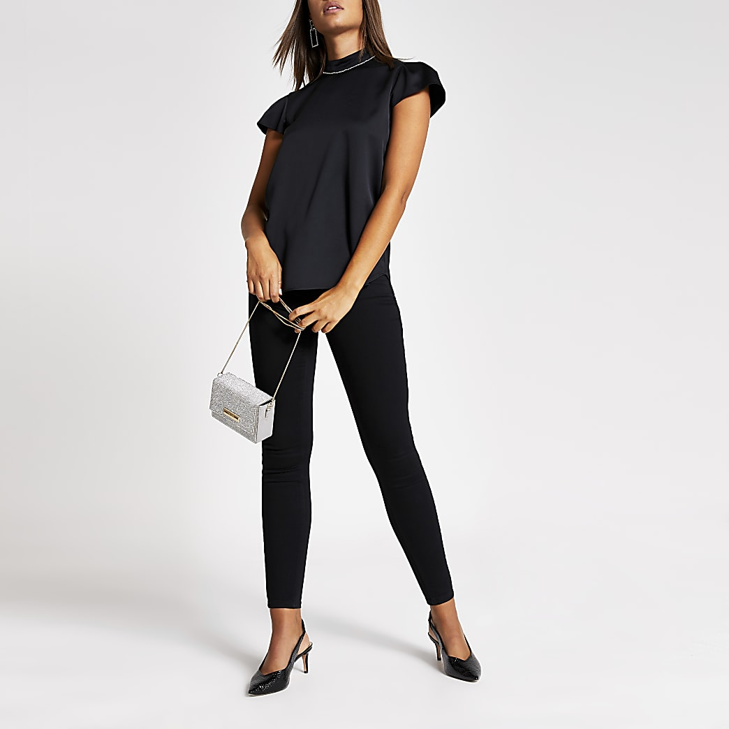 Black short sleeve diamante high neck top