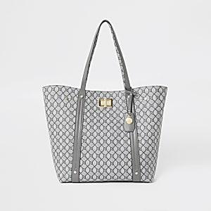 Graue Shopper-Tote Bag mit RI-Monogramm und Verschluss