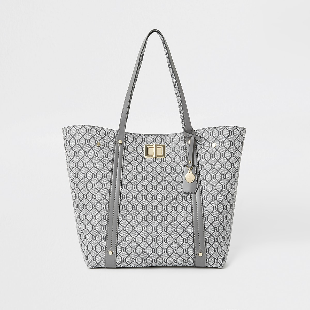 Grey RI monogram lock shopper tote bag