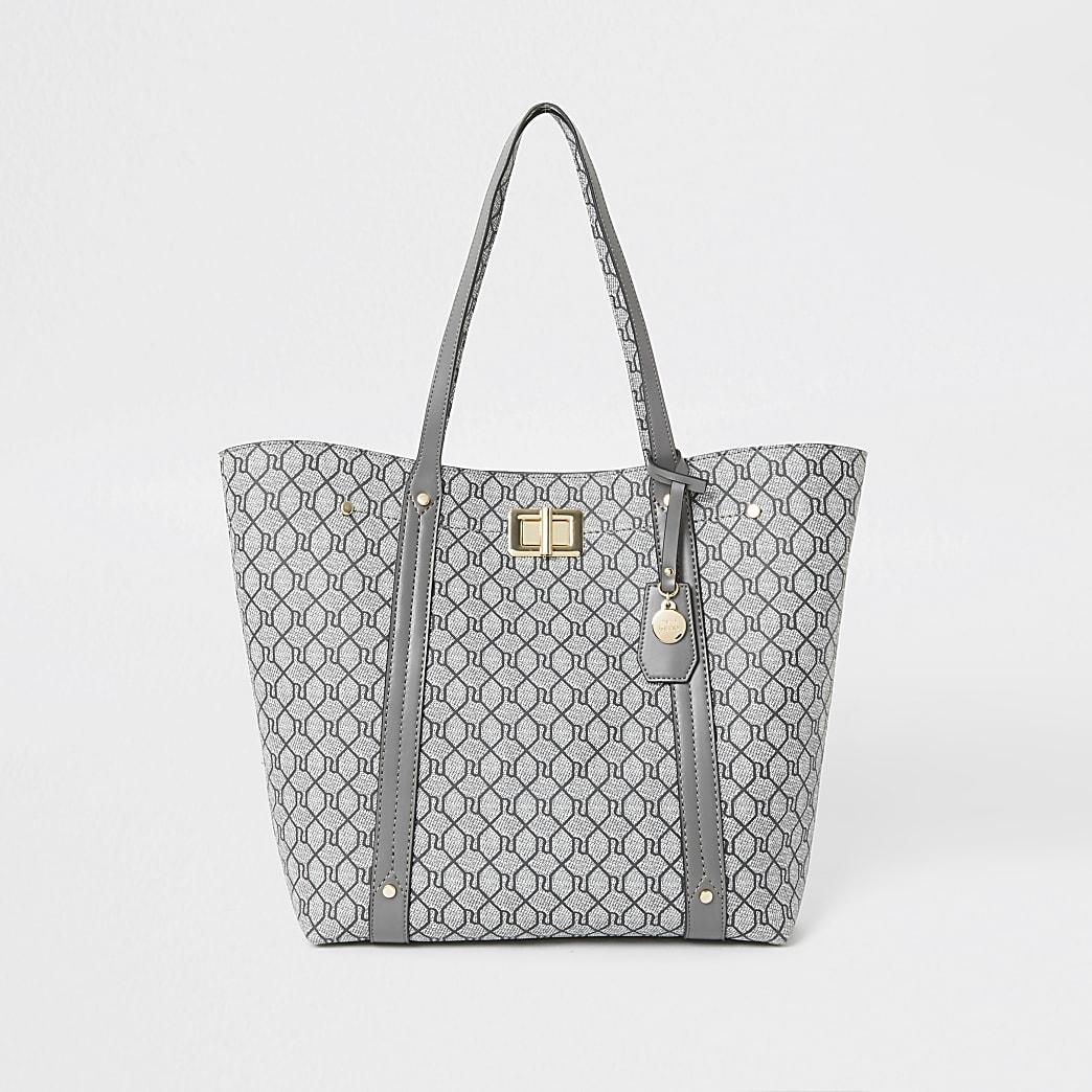 Grey RI monogram lock shopper tote bag