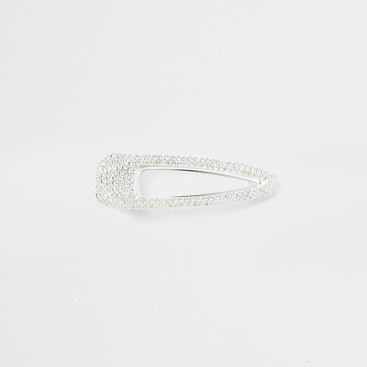 Silver colour diamante embellished hair clip