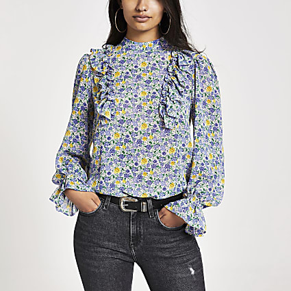 Blue floral print bill frill top